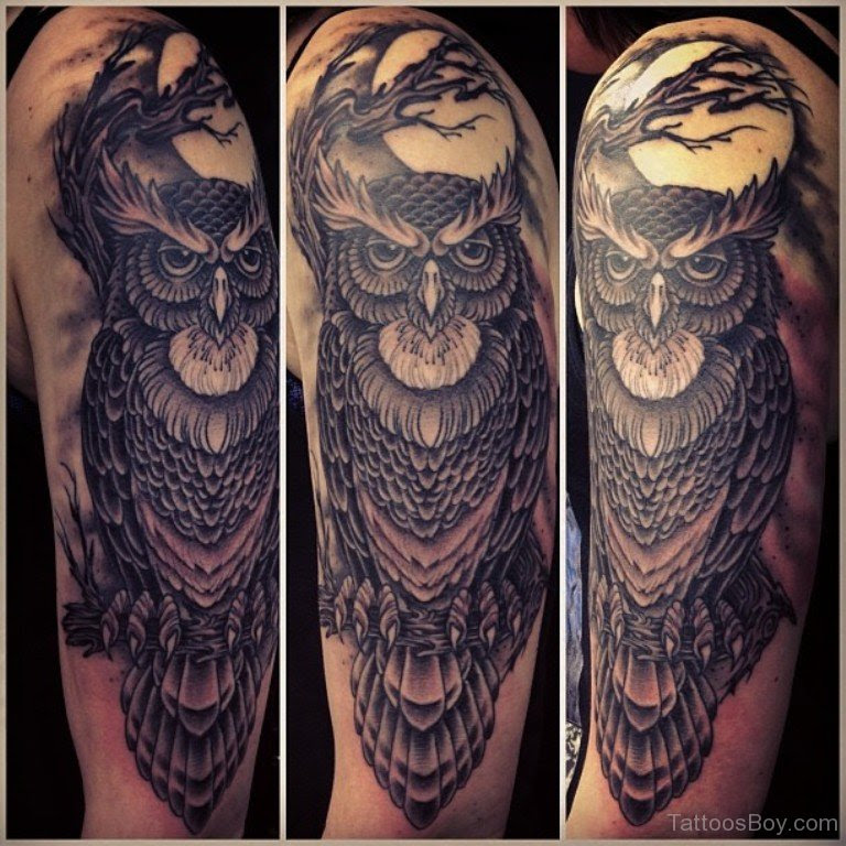 Owl Bird Tattoo On Half Sleeve Tattoo Designs Tattoo Pictures
