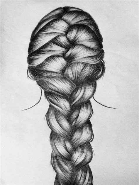 french braid  drawing hair pinterest