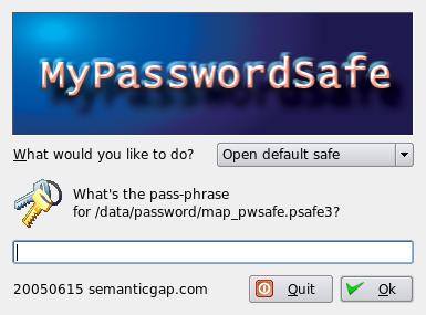 Pantalla de clave de MyPasswordSafe