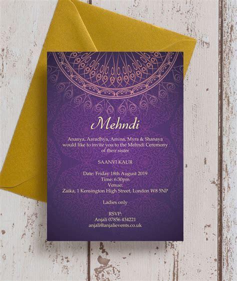 Purple & Gold Mehndi / Baraat Card from £0.85 each