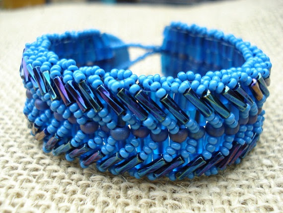 Slate Blue and Iris Beaded Cuff with Button by JuneMoonBeadJewelry, $35.00