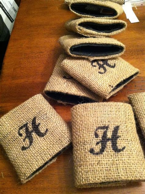DIY Why Spend More: DIY burlap wrapped koozies for wedding