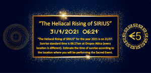 The Heliacal Rising Of SIRIUS