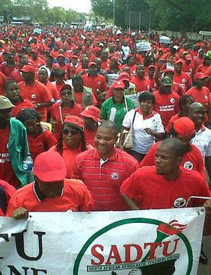 The South African Democratic Teachers Union (Sadtu). The labor organization is an affiliate of the Congress of South African Trade Unions (Cosatu). by Pan-African News Wire File Photos