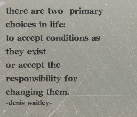 There Are Two Primary Choices In Life To Accept Conditions As They