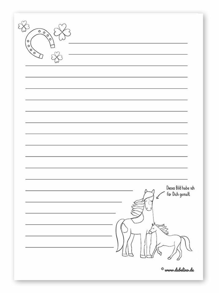Freebie Kinder Briefpapier Vorlagen Kostenlos Als Pdf Download Zum Ausdrucken Motive Pferde Und Eisenbahn Dabelino