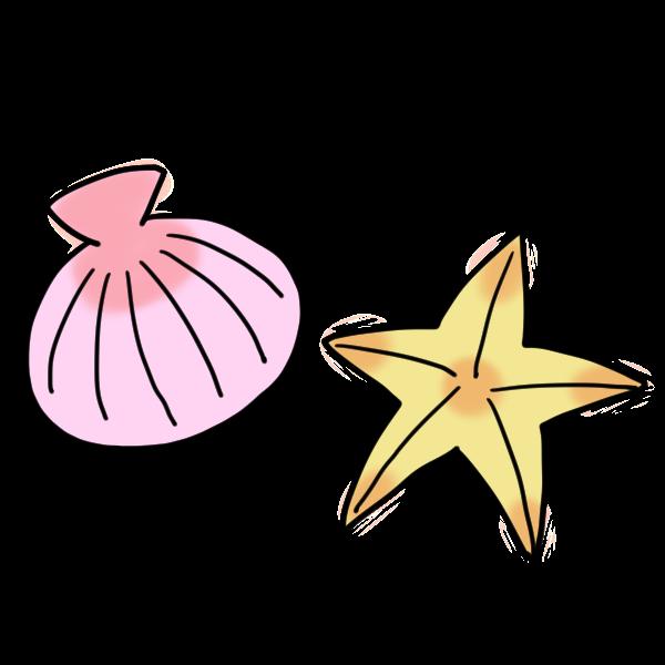 ピンクの貝と黄色いヒトデのイラスト かわいいフリー素材が無料の
