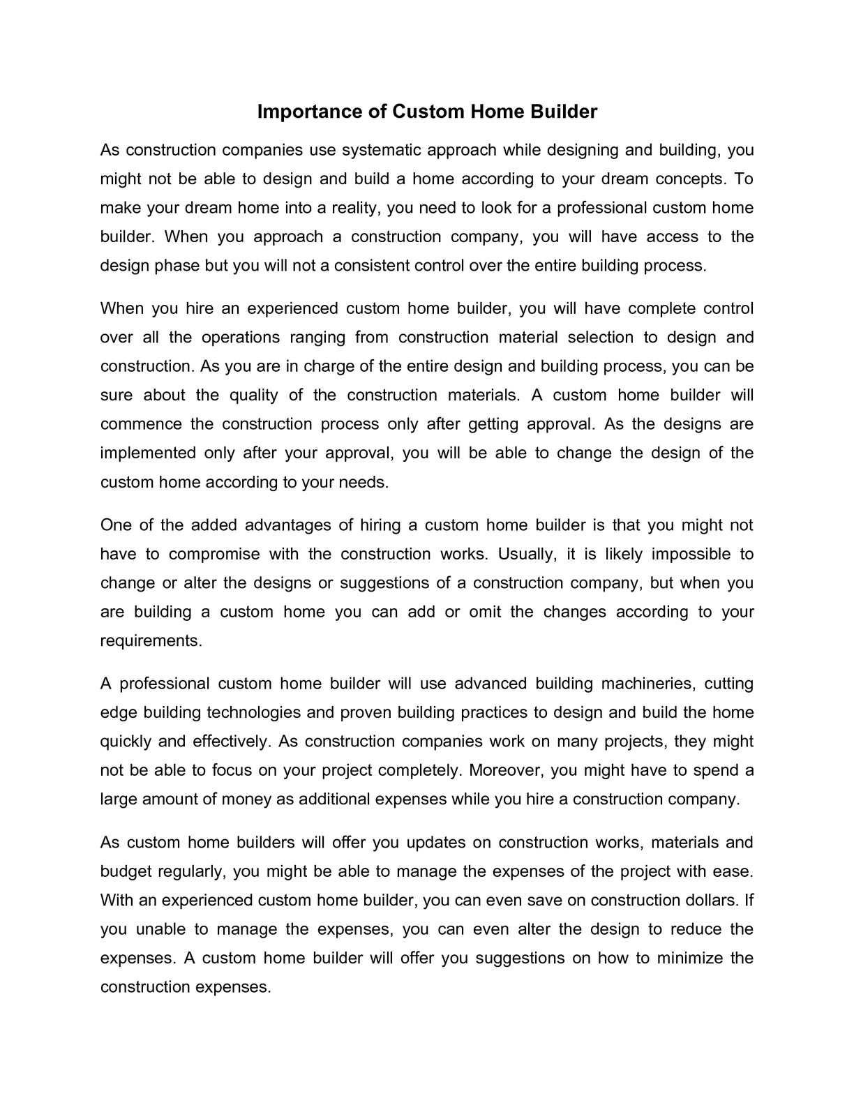 Calaméo Importance Of Custom Home Builder