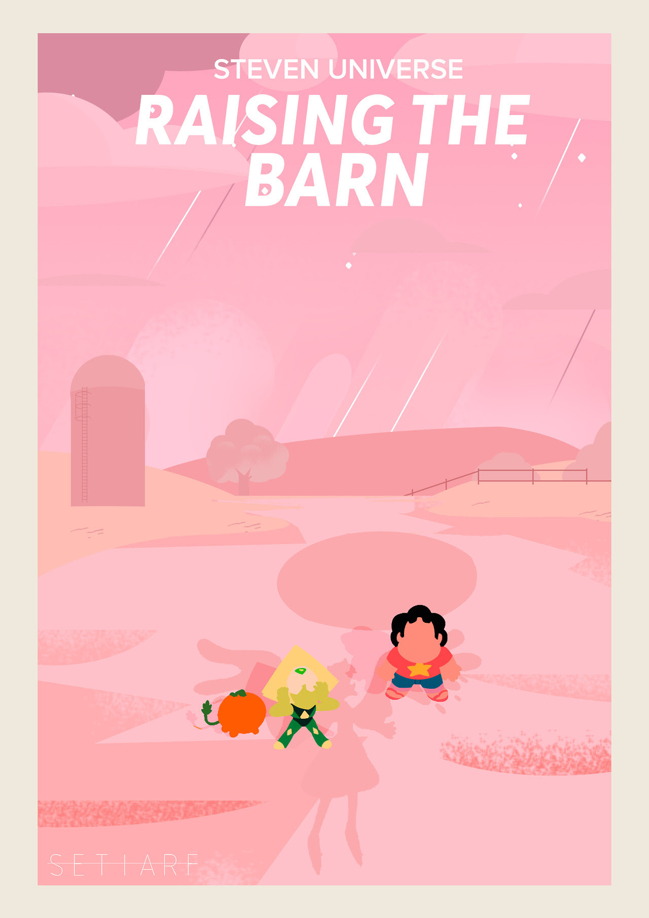 I was really excited to do this! So, this fanart is a poster that I made for Steven Universe's episode: Raising the Barn. <3