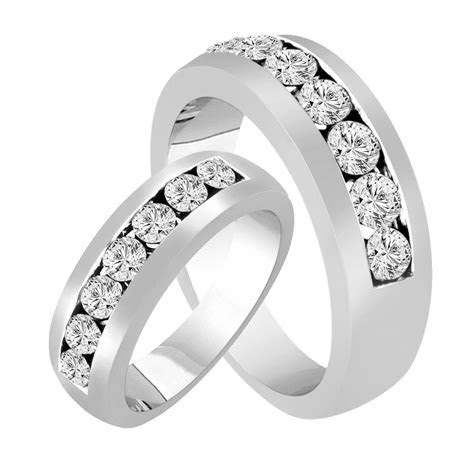 His & Hers Wedding Rings, Diamond Matching Bands, Couple