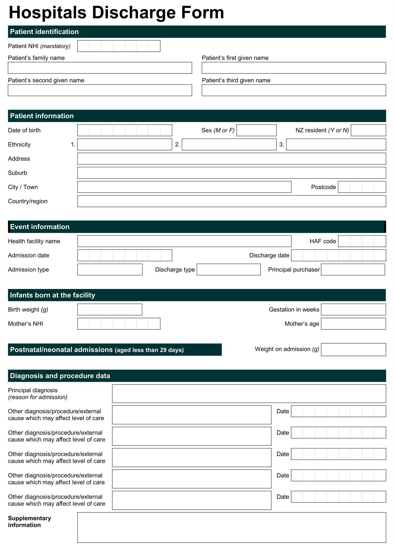 hospital release form - Template