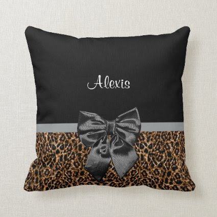 Stylish Leopard Print Elegant Black Bow and Name Pillows