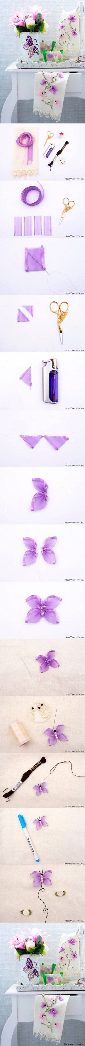 DIY Butterfly Hand Ribbon Embroidery