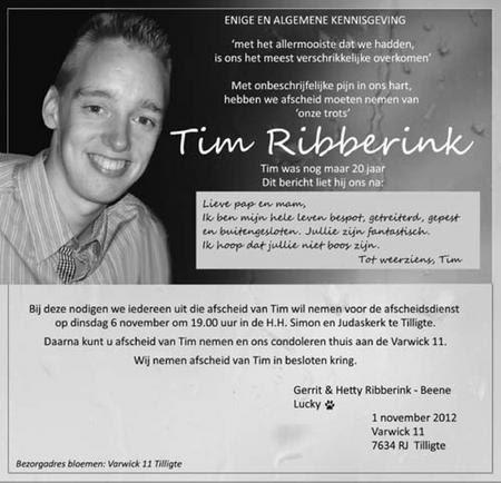 Oproep ouders Tim Ribberink (Gerrit en Hetty) vragen om de dood van hun zoon nooit te vergeten. Pesten moet stoppen nu!