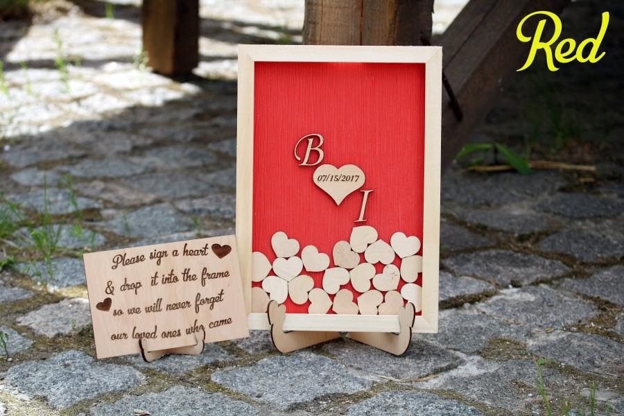 Red Wedding Sign Guest Book Alternative Wooden Heart Rustic Wedding