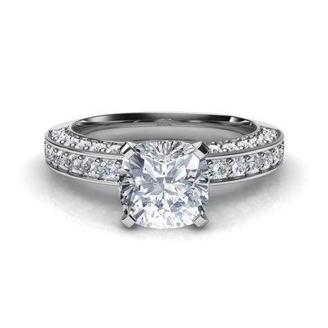 3 Sided Pave Cushion Cut Diamond Engagement Ring Natalie