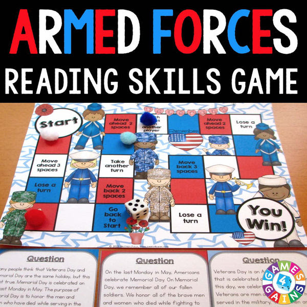 Armed Forces Reading Prehension Board Game – Games 4 Gains
