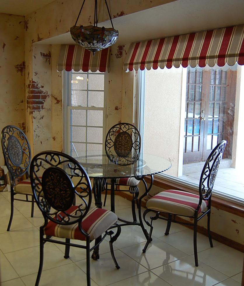 Need help choosing window treatment for kitchen (door, room, walls ...