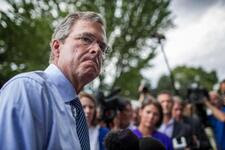 Former Governor Jeb Bush answers questions from journalists after a town-hall meeting at the Historical Society in Keene, New Hampshire on Thursday, August 20, 2015.
