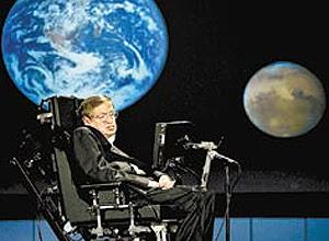 """Stephen Hawking durante a conferência """"Por que devemos viajar ao espaço"""", nos EUA; ele é fã da exploração tripulada"""
