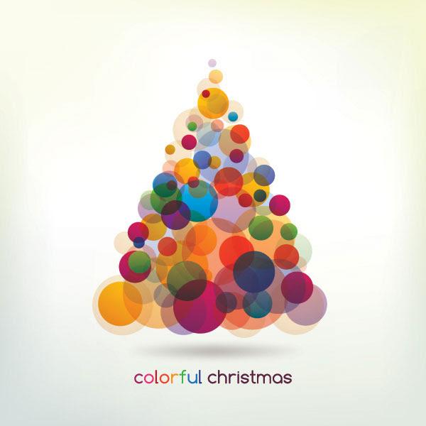 無料素材 カラフルなサークルでツリーをデザインしたクリスマスカード