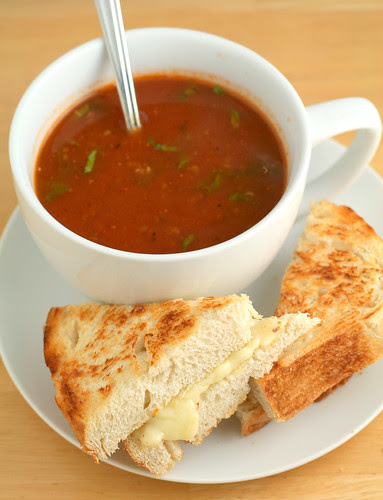 Tomato and Quinoa Soup with Grilled Cheese Sammich