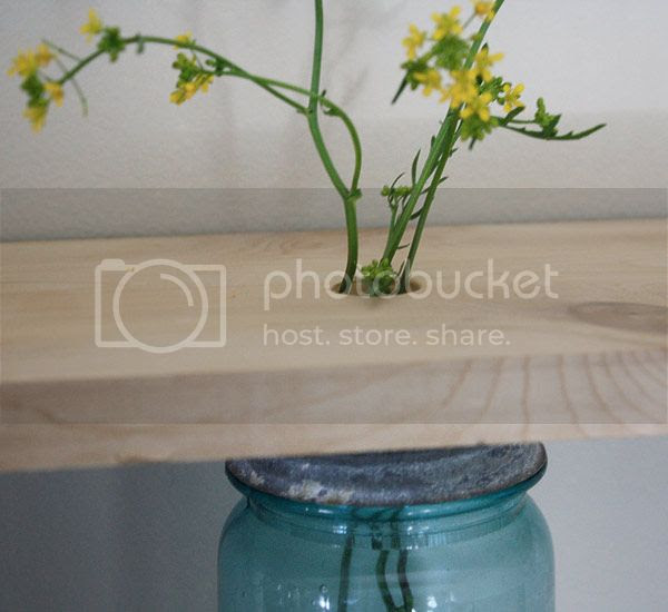 A Mason Jar Fresh Cut Flower Shelf