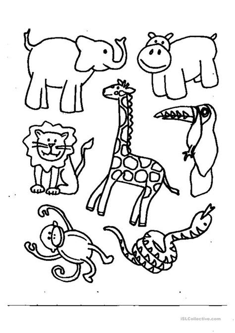 animals coloring worksheet  esl printable