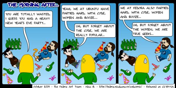 fedora webcomic: morning after]