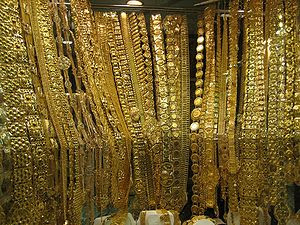 The Gold Souk, Dubai Gold on display in a wind...
