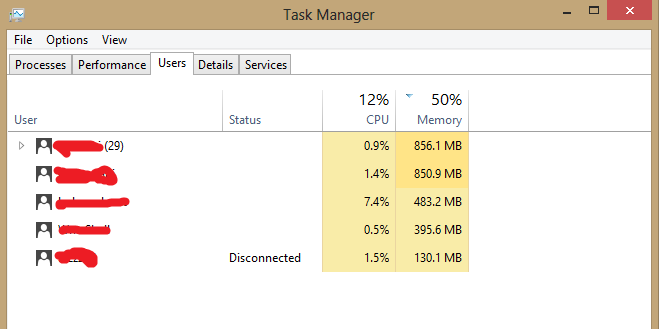 How to get a users processing percent in windows