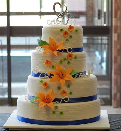 Orange and Blue Wedding Cake   Married to the Broncos