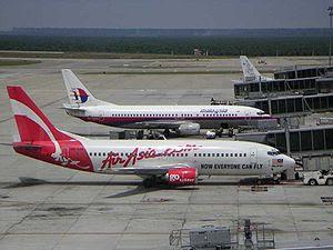 AirAsia and Malaysia Airlines aircrafts at Kua...