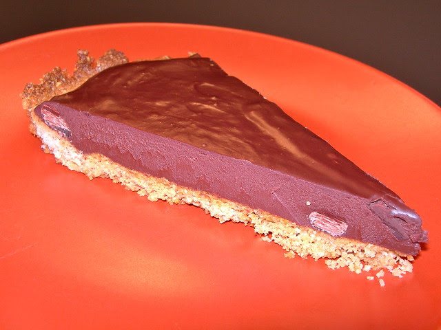 Slice of Mexican Chocolate Ganache Tart