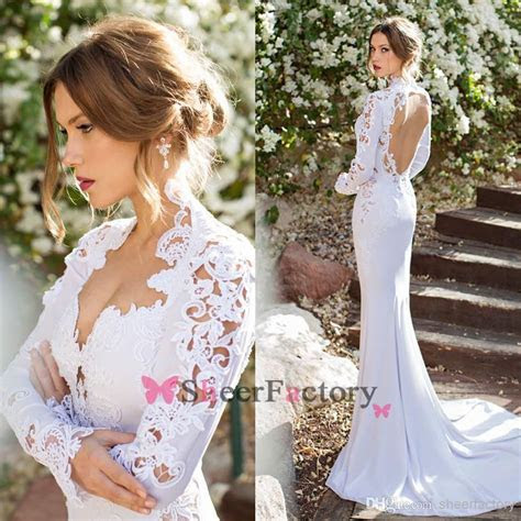 Mermaid Wedding Dresses Queen Anne Long Sleeve Embroidery