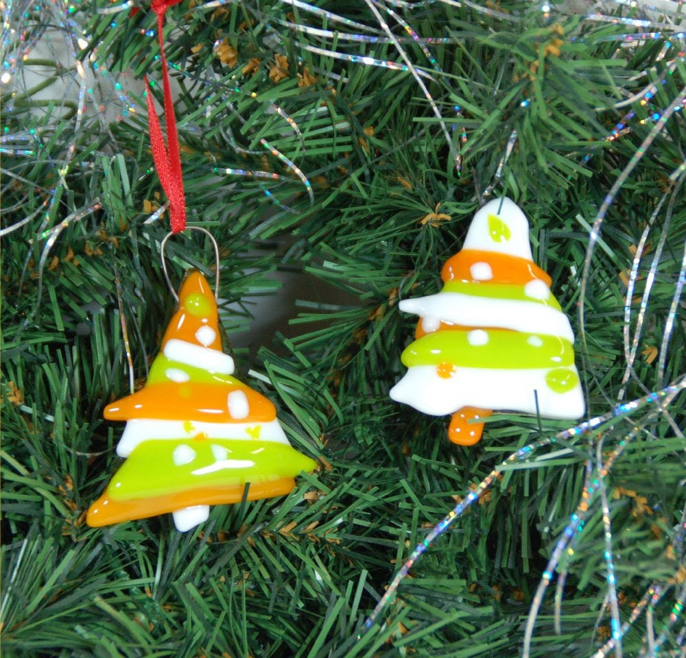 Christmas tree ornaments, fused glass free form trees, set of 2