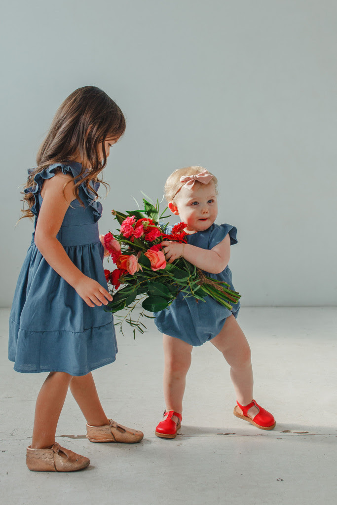 little girls Easter dresses - blue linen ruffle dress and matching bubble romper