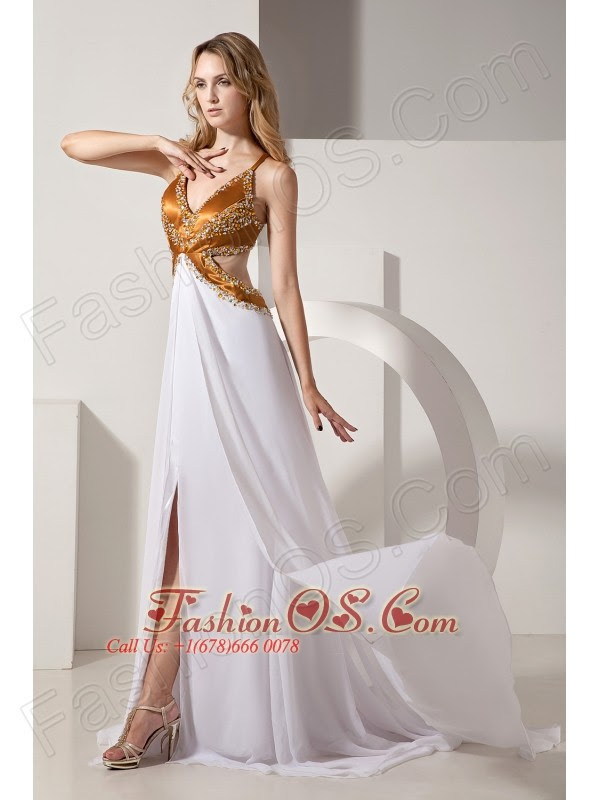 White and gold evening dresses