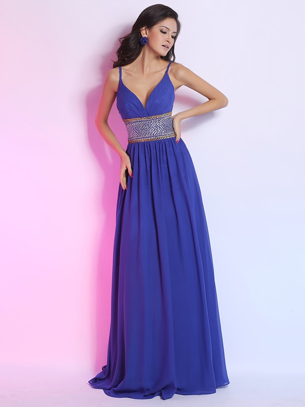 Pretty Chiffon with Crystal Detailing Spaghetti Straps V-neck Floor-length Prom Dress #JCD02014266