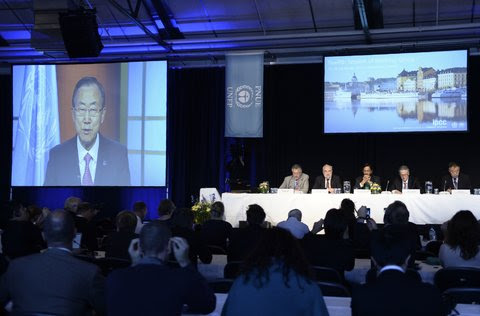 Ban Ki-moon, the secretary general, addressed the United Nation's Intergovernmental Panel on Climate Change on Friday.