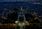 Paris at night: view from the Eiffel Tower