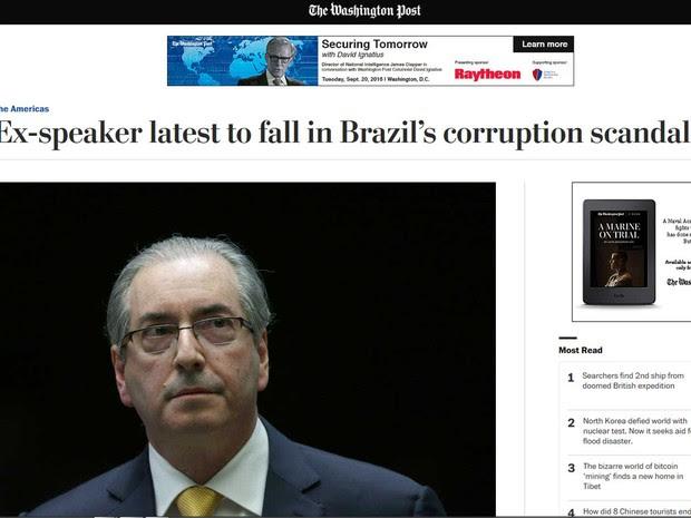 The Washington Post fala que Cunha é mais um político a cair ante os escândalos de corrupção que vem revoltando os brasileiros (Foto: Reprodução / The Washington Post)