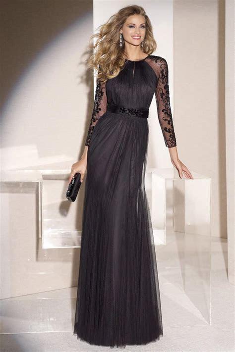 2016 Black Beaded Tulle Long Sleeve Women Evening Dresses