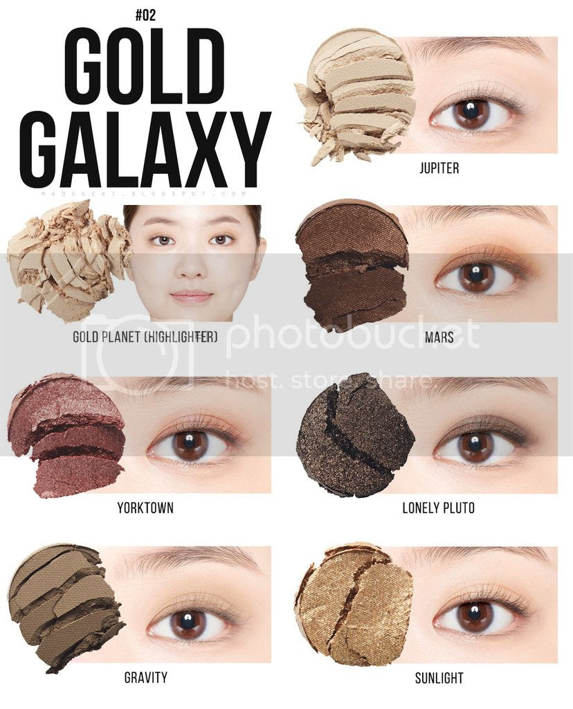 etude house UNIVERSE MULTI PALETTE 02 gold galaxy swatches