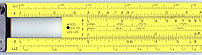 A slide rule positioned so as to multiply by 2...