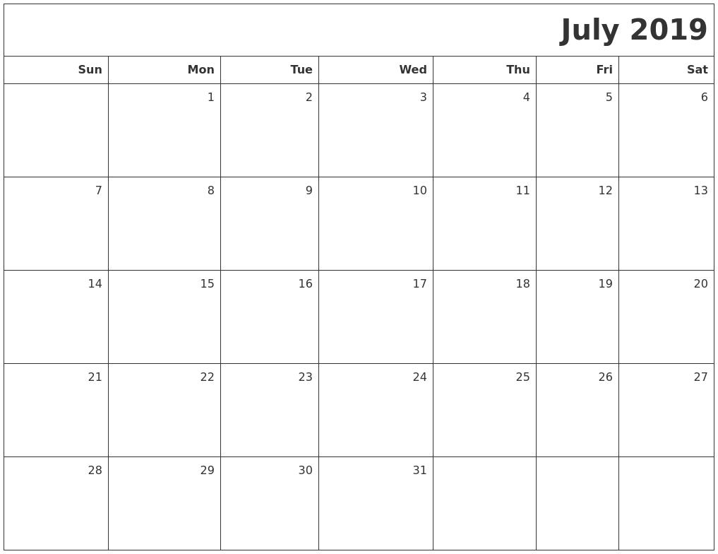 july 2019 printable blank calendar