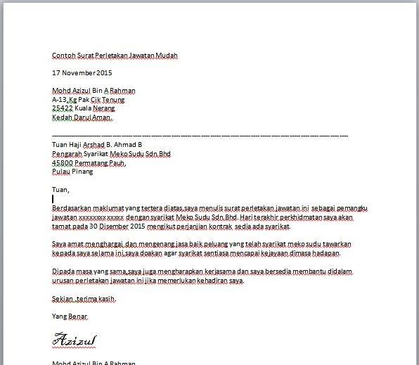 Contoh Surat Rayuan Berhenti Kerja - Selangor o