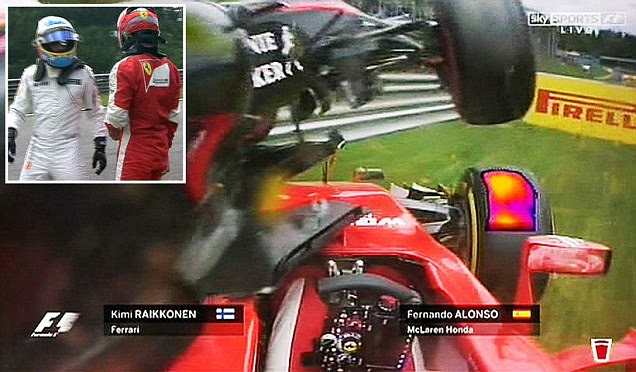 Formula One duo Fernando Alonso and Kimi Raikkonen involved in massive first lap Austrian