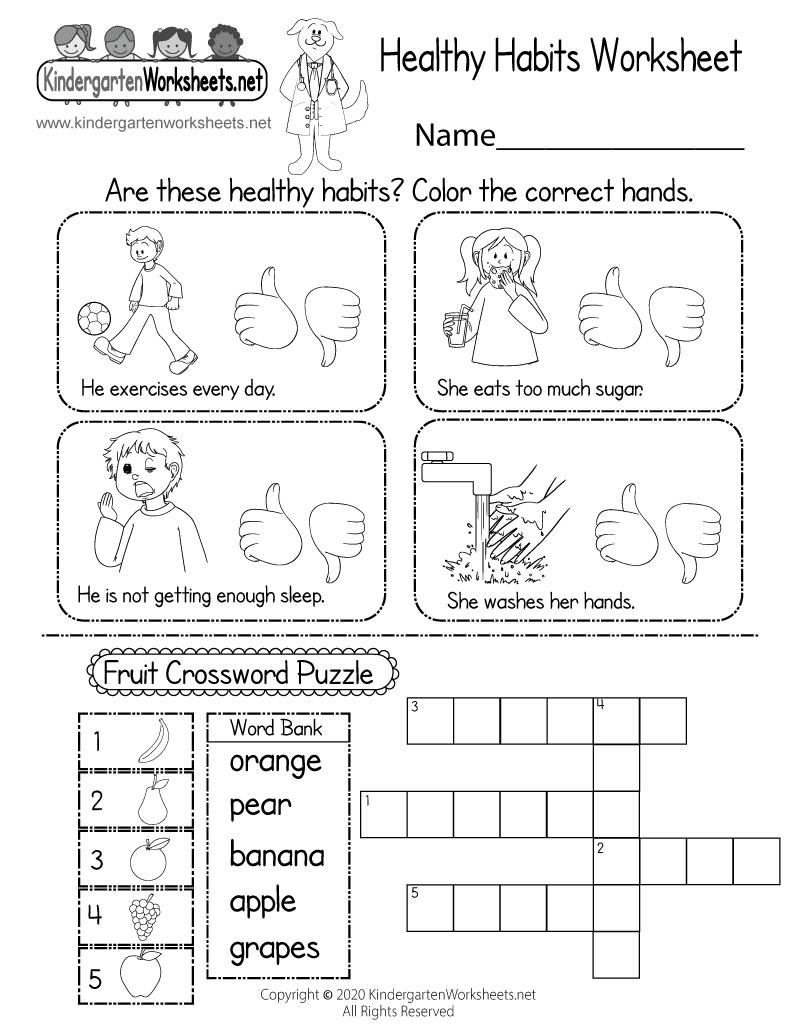 Health Education Worksheet  Free Kindergarten Learning Worksheet for Kids