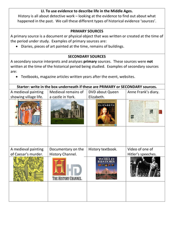 Primary and secondary sources: starter by EmilyTostevin  Teaching Resources  Tes